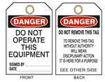 "DANGER DO NOT OPERATE THIS EQUIPMENT - Accident Prevention Tags - 6"" X 3"" Card Stock or Rigid Vinyl"