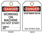 "DANGER WORKING ON MACHINE DO NOT START - Accident Prevention Tags - 6"" X 3"" Card Stock or Rigid Vinyl"