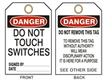 "DANGER DO NOT THROW SWITCHES Tags - 6-1/8"" X 3"""