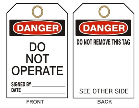 "DANGER DO NOT OPERATE Accident Prevention Tags - 6"" X 3"" Card Stock or Rigid Vinyl"