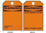 "BLANK WARNING Tags - 6"" X 3"" Choose from Card Stock or Rigid Vinyl"