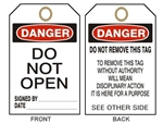 "DANGER DO NOT OPEN, Accident Prevention Tag - 6"" X 3"" Choose from Card Stock or Rigid Vinyl"
