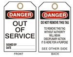 "DANGER OUT OF SERVICE - Accident Prevention Tags - 6-1/8"" X 3"""