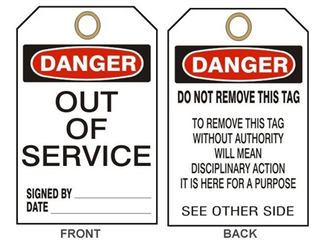 "DANGER OUT OF SERVICE - Accident Prevention Tags - 6"" X 3"" Choose from Card Stock or Rigid Vinyl"
