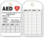 "AUTOMATED EXTERNAL DEFIBRILLATOR INSPECTION RECORD Tag - 6"" X 3"" Choose from Card Stock or Rigid Vinyl"