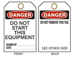 DANGER DO NOT START THIS EQUIPMENT Tag - Accident Prevention Tags - Available in 2 Sizes