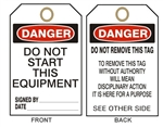 "DANGER DO NOT START THIS EQUIPMENT - Accident Prevention Tags - 6-1/8"" X 3"""