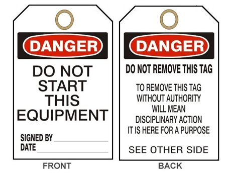 "DANGER DO NOT START THIS EQUIPMENT - Accident Prevention Tags - 6"" X 3"" Choose from Card Stock or Rigid Vinyl"