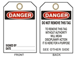 "BLANK DANGER Accident Prevention Tags - 6"" X 3"" Choose from Card Stock or Rigid Vinyl"