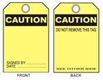 "BLANK CAUTION TAG - Accident Prevention Tags - 6"" X 3"" Choose from Card Stock or Rigid Vinyl"