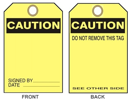 "BLANK CAUTION TAG - Accident Prevention Tags - 6-1/8"" X 3"""
