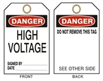 "DANGER HIGH VOLTAGE Tags - 6"" X 3"" Choose from Card Stock or Rigid Vinyl"