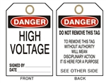 "DANGER HIGH VOLTAGE - Accident Prevention Tags - 6"" X 3"" Choose from Card Stock or Rigid Vinyl"