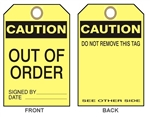 "CAUTION OUT OF ORDER Tags - 6"" X 3"" Choose from Card Stock or Rigid Vinyl"