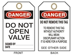 "DANGER DO NOT OPEN VALVE Tags - 6-1/8"" X 3"""