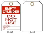 "EMPTY CYLINDER, DO NOT USE - Accident Prevention Tags - 6"" X 3"" Choose from Card Stock or Rigid Vinyl"
