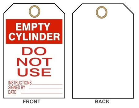 "EMPTY CYLINDER, DO NOT USE - Accident Prevention Tags - 6-1/8"" X 3"""