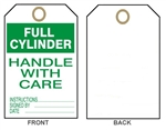 "FULL CYLINDER HANDLE WITH CARE - Accident Prevention Tags - 6"" X 3"" Choose from Card Stock or Rigid Vinyl"
