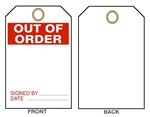 "OUT OF ORDER Tags - 6"" X 3"" Choose from Card Stock or Rigid Vinyl"