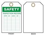 "SAFETY INSPECTION RECORD Tags - 6"" X 3"" Choose from Card Stock or Rigid Vinyl"