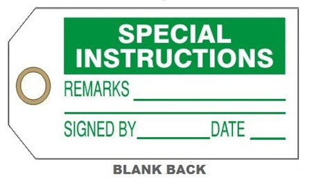 "SPECIAL INSTRUCTIONS TAG - 6-1/8"" X 3"""