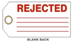 REJECTED PRODUCTION STATUS Tags - Available in Rigid Vinyl or Card Stock