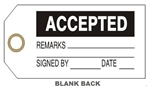 "ACCEPTED PRODUCTION STATUS TAG - 6"" X 3"" Choose from Card Stock or Rigid Vinyl"