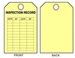 "YELLOW INSPECTION RECORD TAG - Date & By - 6"" X 3"" Choose from Card Stock or Rigid Vinyl"