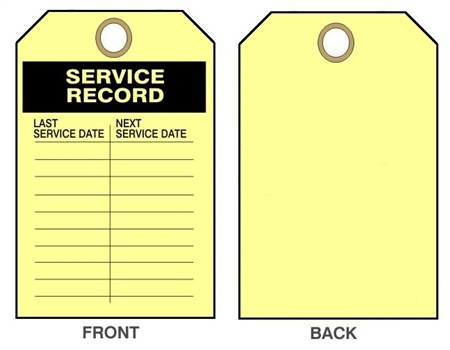 "SERVICE RECORD Tag - Last Service Date & Next Date - 6-1/8"" X 3"""