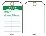 "TEST RECORD, Maintenance Tag - Last Test Date & Next Test Record - 6"" X 3"" Choose from Rigid Vinyl or Card Stock"