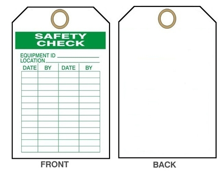 "EQUIPMENT SAFETY, Maintenance Tag - Date & By - 6-1/8"" X 3"""