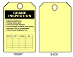 "CRANE INSPECTION RECORD Tags - Date & By - 6"" X 3"" choose from Card Stock or Rigid Vinyl"