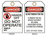 "DANGER HANDS OFF DO NOT OPERATE, Accident Prevention Tags - 6"" X 3"" Card Stock or Rigid Vinyl"