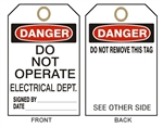"DANGER DO NOT OPERATE ELECTRICAL DEPT. TAG - Accident Prevention Tags - 6"" X 3"" Card Stock or Rigid Vinyl"