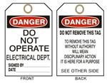 "DANGER DO NOT OPERATE ELECTRICAL DEPARTMENT Tags - 6"" X 3"" Card Stock or Rigid Vinyl"