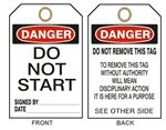 "DANGER DO NOT START - Accident Prevention Tags - 6"" X 3"" Choose from Card Stock or Rigid Vinyl"
