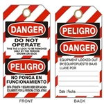 "BILINGUAL DO NOT OPERATE, DANGER LOCKOUT Tsg - Striped Bilingual Accident Prevention Tags - 6-1/8"" X 3"""