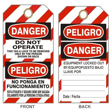 "BILINGUAL DO NOT OPERATE, DANGER LOCKOUT Tsg - Striped Bilingual Lock Out Tags - 6"" X 3"" Card Stock or Rigid Vinyl"