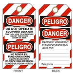 "DANGER DO NOT OPERATE EQUIPMENT LOCKOUT Tag - Bilingual Lock Out Tags - 6"" X 3"" Choose Card Stock or Rigid Vinyl"