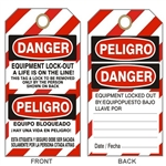 "DANGER  EQUIPMENT A LIFE ON THE LINE, LOCK-OUT Tag - Bilingual Lock Out Tags - 6"" X 3"" Choose Card Stock or Rigid Vinyl"