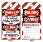 "BILINGUAL LOCK OUT TAG - Striped Bilingual Accident Prevention Tags - 6"" X 3"" Choose Card Stock or Rigid Vinyl"