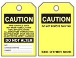 Caution This Scaffold Does Not Meet Federal/State OSHA Specifications Inspection Tags - Choose from Card Stock or Rigid Vinyl