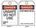 "DANGER UNSAFE DO NOT USE TAG - Accident Prevention Tags - 6-1/8"" X 3"""