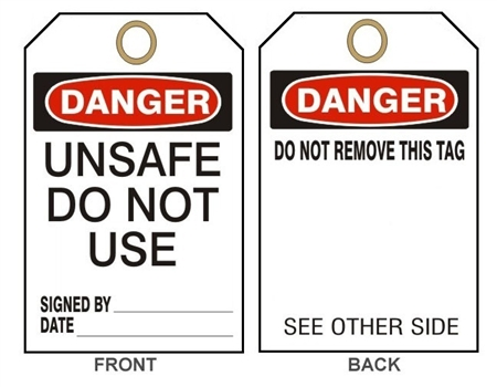 "DANGER UNSAFE DO NOT USE TAG - Accident Prevention Tags - 6"" X 3"" Choose from Card Stock or Rigid Vinyl"