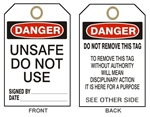DANGER UNSAFE DO NOT USE TAG - Accident Prevention Tags - Available in 2 Sizes