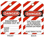 "DANGER EQUIPMENT LOCKED OUT BY - Accident Prevention Tags - 6-1/8"" X 3"""