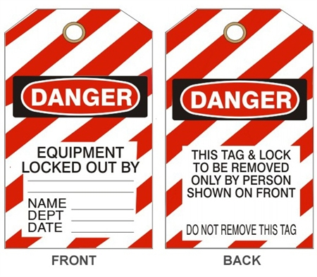 DANGER EQUIPMENT LOCKED OUT BY - Accident Prevention Tags - Available in 2 Sizes