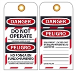 Accident Prevention DANGER DO NOT OPERATE Lockout Tags - 25/Pack