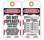 DANGER DO NOT OPERATE GROUP EQUIPMENT LOCK-OUT Tag - Accident Prevention Lockout Tags