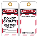 DANGER DO NOT OPERATE EQUIPMENT TAG-OUT - Lockout Tags